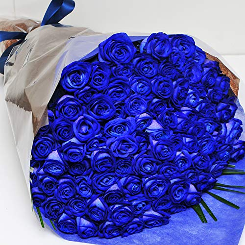 本数をお選びください 青いバラの花束 5本〜100本 神秘的なブルーローズ 奇跡の花 エーデルワイス 花工房 (90)