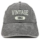 Trendy Apparel Shop Vintage 1951 Embroidered 70th Birthday Soft Crown Washed Cotton Cap - Black
