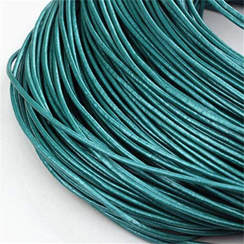 Echt leren koord echte schat huid kunst Ronde 5m kabel/touw/draad aan ketting, armband te maken,aquamarijn