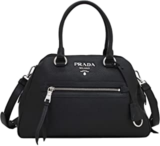 Womens Vitello Phenix Black Leather Satchel Handbag 1BB054