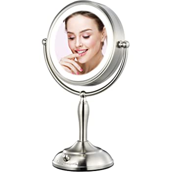 """MIRRORMORE Professional 7.5"""" Lighted Makeup Mirror, 10X Magnifying Vanity Mirror with 28 Medical LED Lights, Senior Pearl Nickel Cosmetic Mirror, Brightness Adjustable(0-1100Lux) Desk Lamp Alternative"""