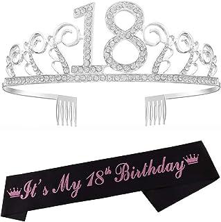 Reyok - Tiara de cristal para el 18º cumpleaños, corona de cumpleaños, corona de princesa, accesorios para el pelo, color ...