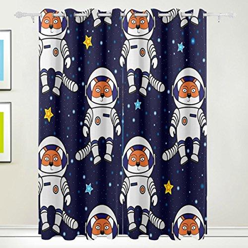 Rideau de fenêtre, 2 panneaux Fox Astronaute étoiles dans l'espace d'impression Isolation thermique occultant épais Tissu de polyester Décoration de maison avec œillet pour filles Chambre à