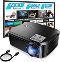 """$249 » DKLGG Full HD Projector with 4K/HD/1080P/6000 Lux 200"""" Display, Projection Apparatus-usetable for Business Slide Presentation and Home Theater, Compatible with Smartphone/Laptop/PS4, Black"""