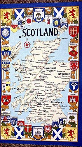 SCOTLAND MAP & COAT OF ARMS TEA TOWEL
