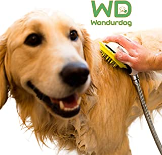 Wondurdog Quality at Home Dog Wash Kit | Water Sprayer Brush & Rubber Shield | Wash Your Pet and Don't Get Wet | Shield Water from Dogs Ears, Eyes and Yourself!