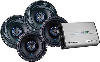 $109 » Autotek 4 Channel Amp & 3 Way Speaker (2 Pairs) Bundle - AYA-1100.4 Alloy Series Four Channel Car Audio Amplifier (1100-Watt, Class A/B) & ATS653 6.5 Inch 3 Way Car Speakers (300-Watt Max, 2 Pairs)