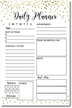 Gold Undated Daily Task Planner to do List Pad, School Family Life Work Personal Productivity Notepad, Day Schedule Organizer, Cute Christmas Birthday Gift Idea, Goal Habit Tracker 50 Tear Off Pages