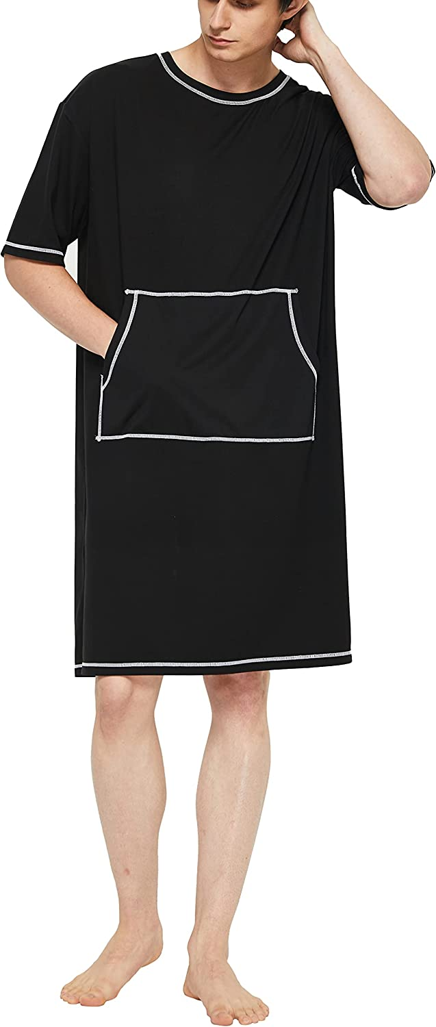 Fashion slimour Long-awaited Men's Nightshirts with Pockets Sl Men Nightgown Long