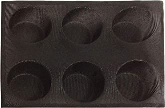 BESTONZON 6 Cavity Round Silicone Mold Non-Stick Breathable Fondant Baking Mold Tray for Cupcake Muffin Cornbread (Black)