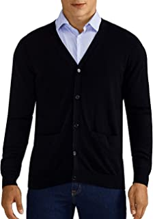 QUALFORT Mens Cardigan Sweater 100% Cotton Pockets Casual Slim Fit V-Neck Knitted Sweaters Button up