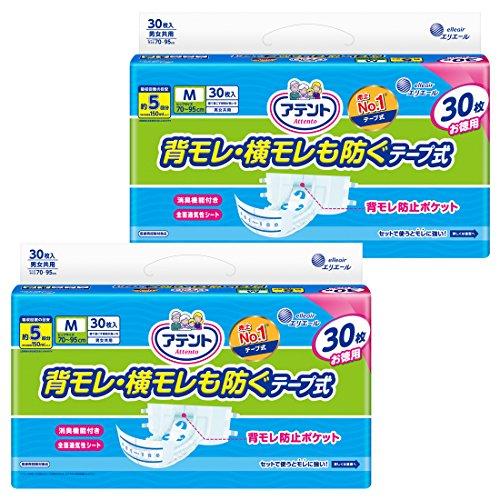 スマートマットライト アテント テープ式 M 60枚(30枚×2) 消臭効果付き 【寝て過ごす事が多い方】【無地ケース】