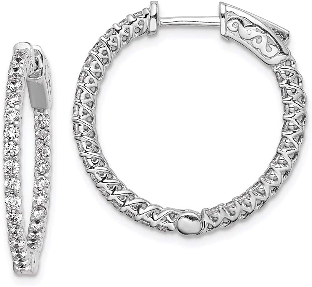 Sterling Silver Cubic Sale special price Zirconia in Hinged Earrings Hoop cheap and Out