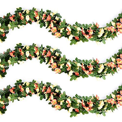 VINFUTUR Guirnalda de Rosas Artificiales 2.7m×5pcs, Flores Guirnalda Artificial Vid de Rosas Falsas Colgante Plantas con Hiedra para Decoración Jardín Boda Balcón Exterior Interior