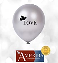 (Love) - Biodegradable Remembrance Balloons: 30pc White & Silver Funeral Balloons for Balloon Releases & Sympathy Gifts Created/Sold by AMERIBA, a USA company (Love Balloon)