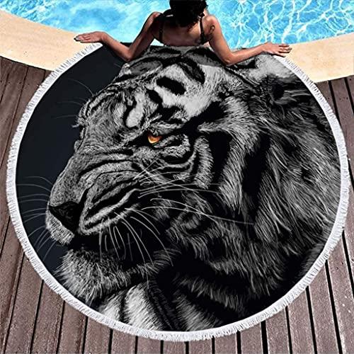 Toalla de Playa Redonda a Prueba de Arena con diseño de Tigre Monocromo, Animal Salvaje, Estampado de fantasía, con borlas, con Flecos Redondos, Estilo Hippie, para Piscina / toall