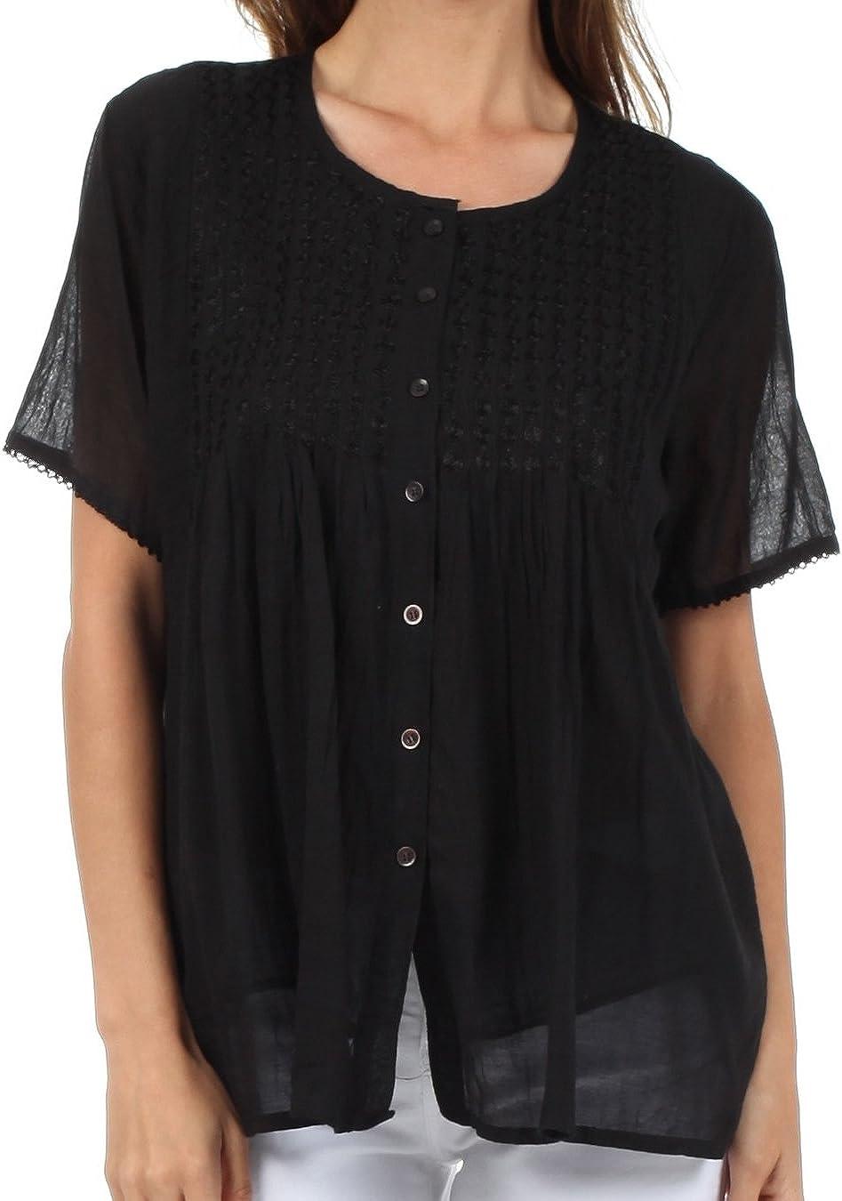 Sakkas Button Down Embroidered Baltimore Mall Short Semi-Sheer Gauzy Ranking TOP19 Sleeve Cot