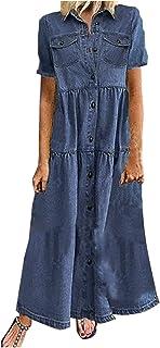 Denim Dresses On Sale,Floor Length Denim Dress,Denim Maxi Dresses,denim maxi dress,