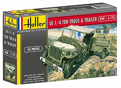 Heller US 1/4 Ton Truck and Trailer Military Land Vehicle Model Building Kit