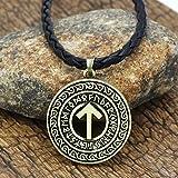 Inveroo Viking Rune Amuleto Tyr Collar Colgante para Hombre Mujer con Bolso De Regalo
