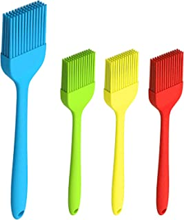 Silicone Pastry Brush 4-Pack Heat Resistant Basting Brushes Spread Oil Butter Sauce Marinades for BBQ Grill Meat Barbecue, Dessert Baking Kitchen Cooking, Pastry Cakes, Dishwasher safe (4 Colors)