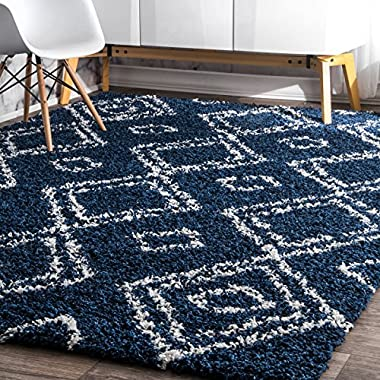 nuLOOM Cozy Soft and Plush Moroccan Shag Area Rugs, 6' 7  x 9', Blue