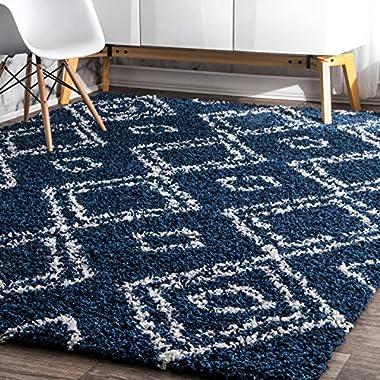 nuLOOM 4' X 6'Cozy Soft and Plush Moroccan Trellis Iola Easy Shag Indoor Area Rug, Blue