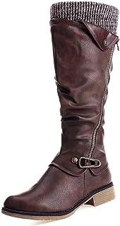 Botas Altas Invierno Mujer, Camfosy Botas de Nieve Caña Ancha Zapatos Mujer Cuña Planos Sintética Peluche Jinete Bajo Cómo...