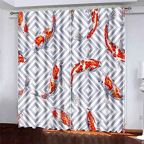 Gardiner 2 paneler sommar tropiskt japanskt mönster fisk bakgrund perfekta tapeter fyllningar webbsida bakgrunder yta för vardagsrum sovrum dekor