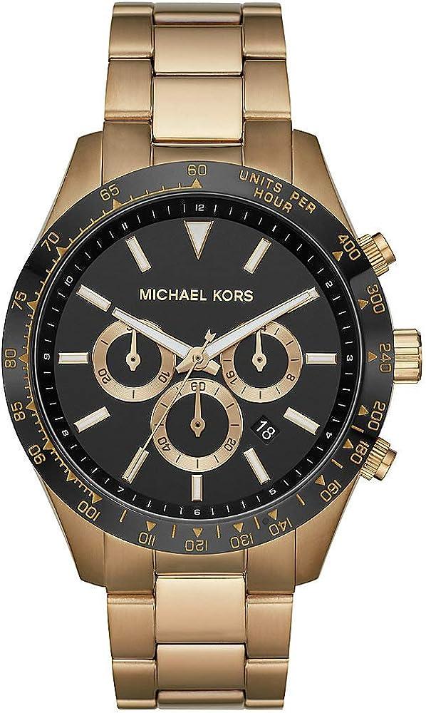 Michael kors,orologio,cronografo per uomo, in acciaio inossidabile di colore oro, con finitura mista MK8783