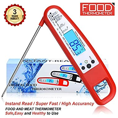 Meat Thermometer Food Thermometer Instant Read Thermometer BBQ Thermometer Grill Thermometer High Accuracy Kitchen Thermometer Digital Thermometer Cooking Thermometer for BBQ Oven Grill Candy Milk