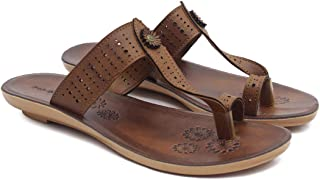 ASIAN Women's Ladies Kohlapuri Chappal for Women's Stylish Flat Heels Slippers for Women's   Laser-254 Girl's Red Shoes fo...
