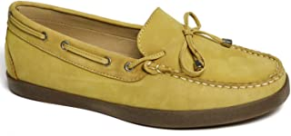 Driver Club USA Women's Leather Made in Brazil Boat Shoe with Tiebow Detail, Yellow Nubuck/Natural Sole, 10.5 M US