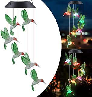 Color Changing Wind Chime Solar Powered Hummingbird Wind Chime Lights Wind Mobile Portable Waterproof Outdoor Decorative W...