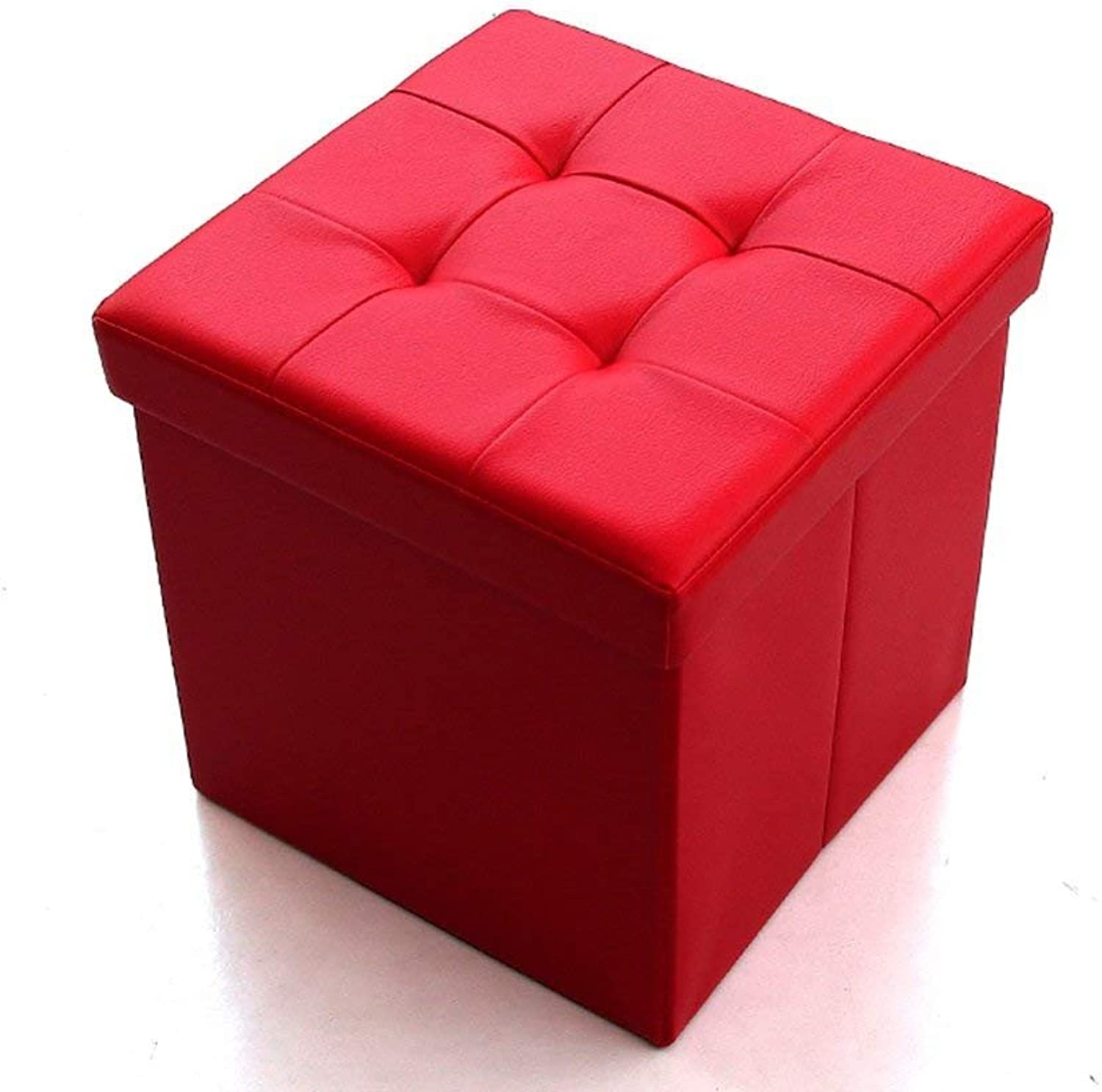 CWJ Sofa Stool- Multi-Function for shoes Stool The Sofa can sit in The Storage Box Foldable Stool Square pu Storage Stool (4 colors Optional) (38  38  38cm) -Storage Stool