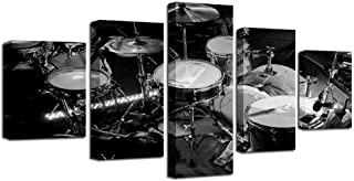 ZHFFYY Canvas Painting Canvas Wall Art Pictures HD Prints 5 Pieces Music Instrument Paintings Black White Drums Posters Living Room Home Decor
