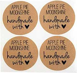 Apple Pie Moonshine Labels by Once Upon Supplies, Moonshine Bottle Stickers, 2.5 Inches Size for Wide Mouth Mason Jars, 36...