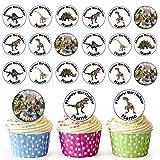 24 decoraciones comestibles personalizables para cupcakes, diseño de dinosaurios, círculos precortados fáciles