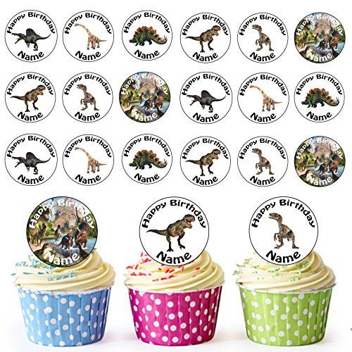 Dinosaurios mezcla 24personalizado comestible cupcake toppers/adornos de tarta de cumpleaños–fácil troquelada círculos