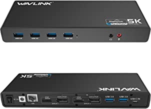 Wavlink Universal USB-C/USB 3.0 Ultra 5K Laptop Docking Station with 4K Dual Video Outputs,Support for Windows 7/8/ 8.1/10(USB-C in,DP and HDMI,Gigabit Ethernet,Audio Out and Mic in,6 USB 3.0 Port)