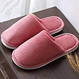 Zapatillas Casa Hombre Mujer Invierno Female Slippers Plush Leisure Non Slip Bedroom Slippers Comfy Warm Winter Slippers Couple Soft Shoes For Home-Wine_Red_8.5