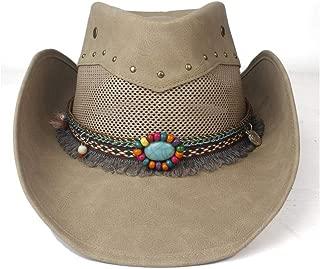 SXQ Summer Men's Women's Straw Hat 100% Leather Casual Denim Sunproof Western Cowboy Hat Fedora Hat Outdoor Travelling Beach Sun Hat With Turquoise Decoration Gentlemen's Hat UV Protective Visor Cowgi