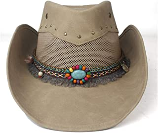 Hats  and Caps Natural Leather Cowboy Hat for Women Lady Mesh Jazz Cowgirl Hat for Lady Tassel Winter Western Sombrero Hats (Color : Khaki, Size : 58-59cm)