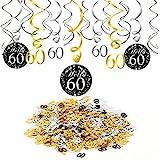 Konsait 60e Anniversaire décoration, Noir 60e Anniversaire Hanging Swirl (15 pcs),...