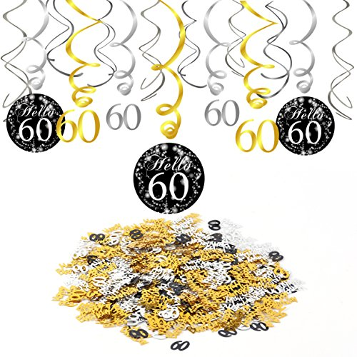 Konsait 60e Anniversaire décoration, Noir 60e Anniversaire Hanging Swirl (15 pcs), Joyeux Anniversaire & Celebration 60e Table confettis Suspension Tourbillon Plafond Decor pour Anniversaire 60 Ans