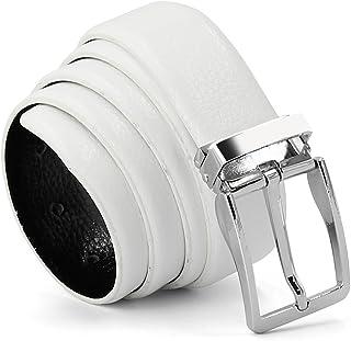 Cinturón de cuero para hombre con Hebilla de pin de estilo empresarial Hebilla de plata piel genuina blanco