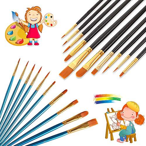 20 Künstlerpinsel Nylon Acrylfarben Pinsel Perfektes Pinsel Set für Anfänger, Kinder, Künstler und Gemälde Liebhaber