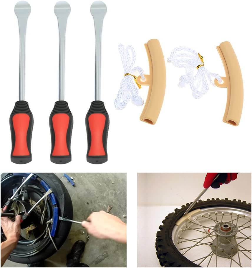 Nicebee 3 Tire Lever Tool Spoon + 2 Wheel Rim Protectors Tool Kit for Motorcycle Bike Tire Changing Removing: Automotive