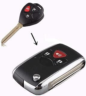 WBOY Uncut Blank 3 Buttons Modified Folding Flip Remote Key Fob Case Shell Replacement Compatible With Toyota Camry Corolla Matrix RAV4 Venza Yaris Scion Tc Key Fob No Chips