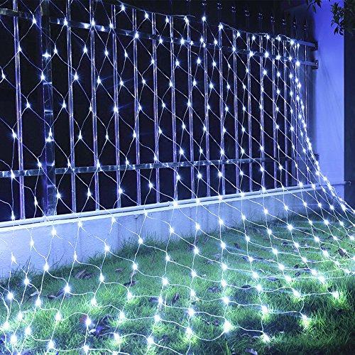 HJ® Lichterkette Lichternetz 3mx3m Lichter Netz mit 300 LEDs IP44 Innen Außen Lichtervorhang Weihnachten Kaltweiß Weihnachtslichterkette Mit Steuerbox
